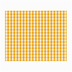 Pale Pumpkin Orange And White Halloween Gingham Check Small Glasses Cloth (2 Side) by PodArtist
