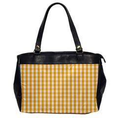 Pale Pumpkin Orange And White Halloween Gingham Check Office Handbags by PodArtist