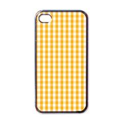 Pale Pumpkin Orange And White Halloween Gingham Check Apple Iphone 4 Case (black) by PodArtist