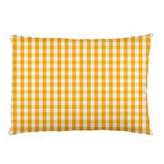 Pale Pumpkin Orange And White Halloween Gingham Check Pillow Case (two Sides) by PodArtist