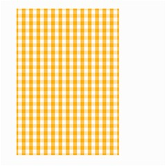 Pale Pumpkin Orange And White Halloween Gingham Check Large Garden Flag (two Sides) by PodArtist