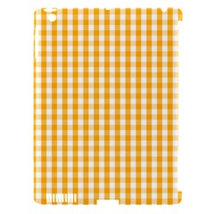 Pale Pumpkin Orange And White Halloween Gingham Check Apple Ipad 3/4 Hardshell Case (compatible With Smart Cover) by PodArtist