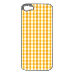 Pale Pumpkin Orange And White Halloween Gingham Check Apple Iphone 5 Case (silver) by PodArtist