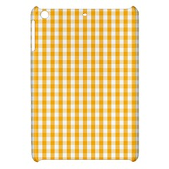 Pale Pumpkin Orange And White Halloween Gingham Check Apple Ipad Mini Hardshell Case by PodArtist