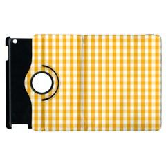 Pale Pumpkin Orange And White Halloween Gingham Check Apple Ipad 3/4 Flip 360 Case by PodArtist