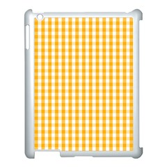 Pale Pumpkin Orange And White Halloween Gingham Check Apple Ipad 3/4 Case (white) by PodArtist