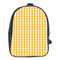 Pale Pumpkin Orange And White Halloween Gingham Check School Bag (xl) by PodArtist