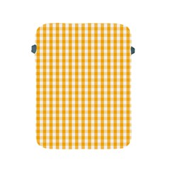 Pale Pumpkin Orange And White Halloween Gingham Check Apple Ipad 2/3/4 Protective Soft Cases by PodArtist
