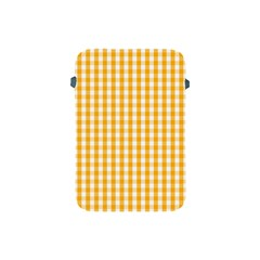 Pale Pumpkin Orange And White Halloween Gingham Check Apple Ipad Mini Protective Soft Cases by PodArtist