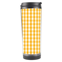 Pale Pumpkin Orange And White Halloween Gingham Check Travel Tumbler by PodArtist