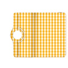 Pale Pumpkin Orange And White Halloween Gingham Check Kindle Fire Hdx 8 9  Flip 360 Case by PodArtist