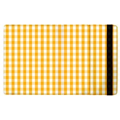 Pale Pumpkin Orange And White Halloween Gingham Check Apple Ipad Pro 12 9   Flip Case by PodArtist