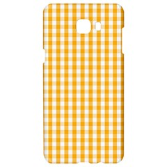 Pale Pumpkin Orange And White Halloween Gingham Check Samsung C9 Pro Hardshell Case  by PodArtist