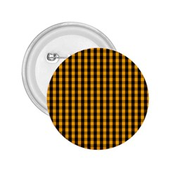 Pale Pumpkin Orange And Black Halloween Gingham Check 2 25  Buttons by PodArtist