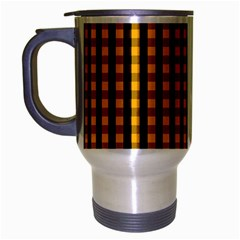 Pale Pumpkin Orange And Black Halloween Gingham Check Travel Mug (silver Gray) by PodArtist