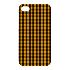 Pale Pumpkin Orange And Black Halloween Gingham Check Apple Iphone 4/4s Hardshell Case by PodArtist