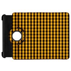Pale Pumpkin Orange And Black Halloween Gingham Check Kindle Fire Hd 7  by PodArtist