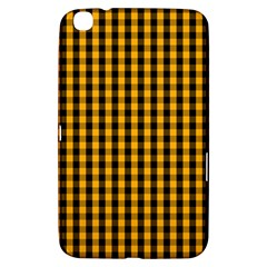 Pale Pumpkin Orange And Black Halloween Gingham Check Samsung Galaxy Tab 3 (8 ) T3100 Hardshell Case  by PodArtist