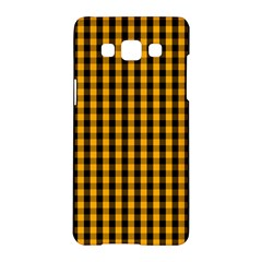 Pale Pumpkin Orange And Black Halloween Gingham Check Samsung Galaxy A5 Hardshell Case  by PodArtist