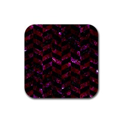 Chevron1 Black Marble & Burgundy Marble Rubber Square Coaster (4 Pack)  by trendistuff