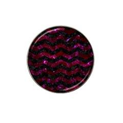 Chevron3 Black Marble & Burgundy Marble Hat Clip Ball Marker (10 Pack) by trendistuff
