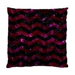 Chevron3 Black Marble & Burgundy Marble Standard Cushion Case (one Side) by trendistuff