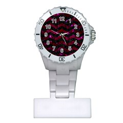 Chevron3 Black Marble & Burgundy Marble Plastic Nurses Watch by trendistuff