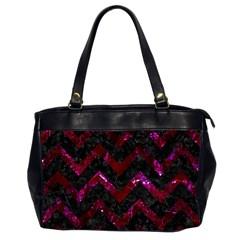 Chevron9 Black Marble & Burgundy Marble Office Handbags (2 Sides)  by trendistuff