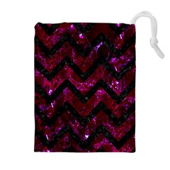 Chevron9 Black Marble & Burgundy Marble (r) Drawstring Pouches (extra Large)