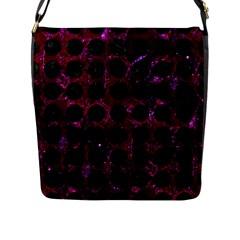 Circles1 Black Marble & Burgundy Marble (r) Flap Messenger Bag (l)  by trendistuff
