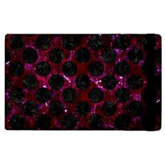 Circles2 Black Marble & Burgundy Marble (r) Apple Ipad 3/4 Flip Case by trendistuff