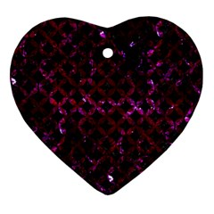 Circles3 Black Marble & Burgundy Marble Ornament (heart) by trendistuff
