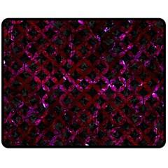 Circles3 Black Marble & Burgundy Marble Fleece Blanket (medium)  by trendistuff