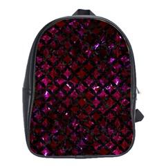 Circles3 Black Marble & Burgundy Marble (r) School Bag (large) by trendistuff