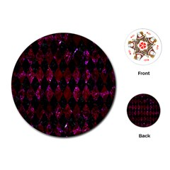 Diamond1 Black Marble & Burgundy Marble Playing Cards (round)  by trendistuff