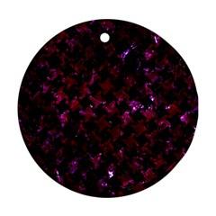 Houndstooth2 Black Marble & Burgundy Marble Ornament (round) by trendistuff