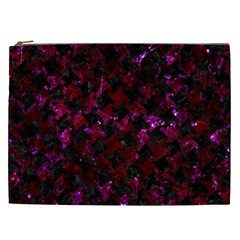 Houndstooth2 Black Marble & Burgundy Marble Cosmetic Bag (xxl)  by trendistuff