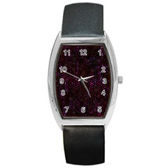Hexagon1 Black Marble & Burgundy Marble Barrel Style Metal Watch by trendistuff