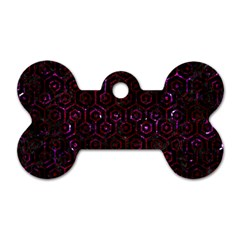Hexagon1 Black Marble & Burgundy Marble Dog Tag Bone (two Sides) by trendistuff