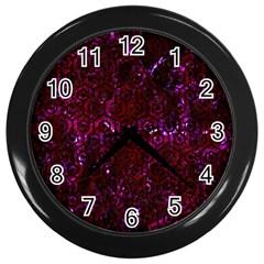 Hexagon1 Black Marble & Burgundy Marble (r) Wall Clocks (black) by trendistuff