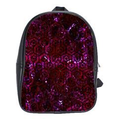 Hexagon1 Black Marble & Burgundy Marble (r) School Bag (xl) by trendistuff
