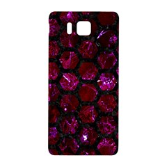 Hexagon2 Black Marble & Burgundy Marble (r) Samsung Galaxy Alpha Hardshell Back Case by trendistuff