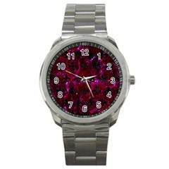 Royal1 Black Marble & Burgundy Marble Sport Metal Watch by trendistuff