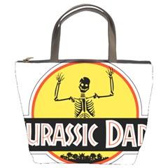 Jurassic Dad Dinosaur Skeleton Funny Birthday Gift Bucket Bags by PodArtist