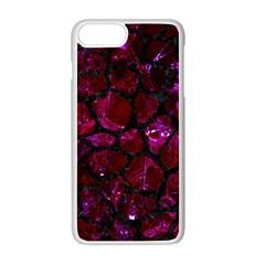 Skin1 Black Marble & Burgundy Marble Apple Iphone 7 Plus White Seamless Case by trendistuff
