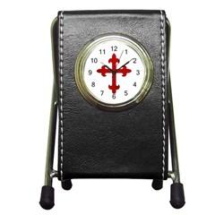 Crusader Cross Pen Holder Desk Clocks by Valentinaart