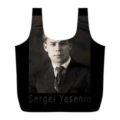 Sergei Yesenin Full Print Recycle Bags (l)  by Valentinaart