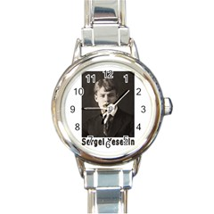 Sergei Yesenin Round Italian Charm Watch by Valentinaart