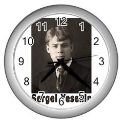 Sergei Yesenin Wall Clocks (silver)  by Valentinaart