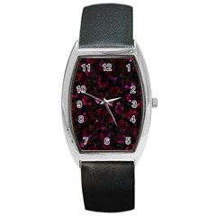 Skin5 Black Marble & Burgundy Marble (r) Barrel Style Metal Watch by trendistuff